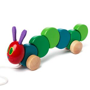 Best Toddler Toy Gifts for the Holidays: The Very Hungry Caterpillar Wood Pull Toy (via Parents.com)