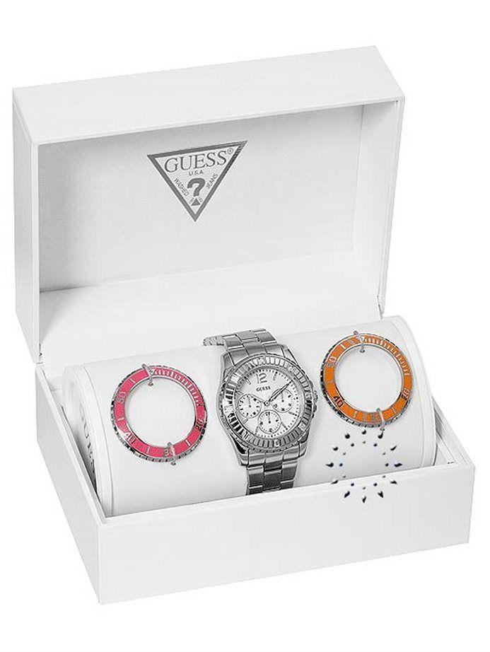 Eντυπωσιακό ρολόι του οίκου Guess από Ανοξείδωτο ατσάλι  και 2 επιπλέον στεφάνια για να τα αλλάζετε.