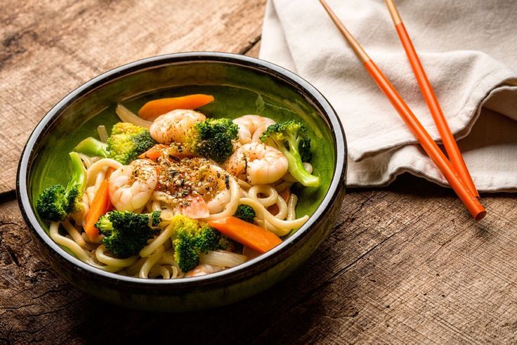 Prawns and noodles stir fry by Pamela Chen Moore