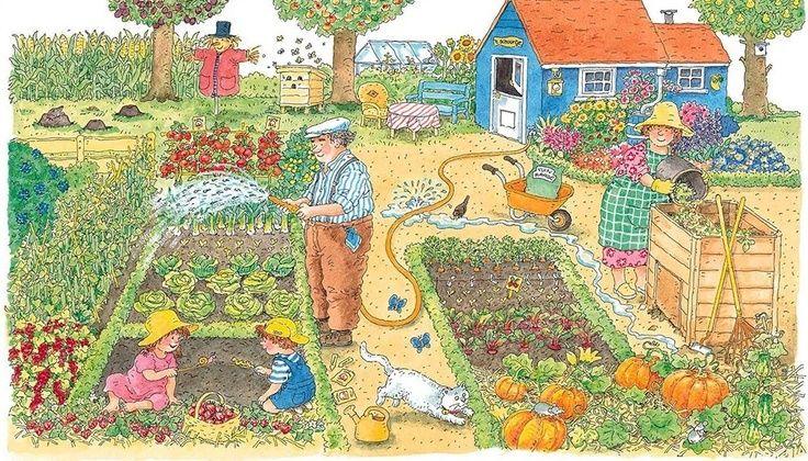 Praatplaat Bas - In de tuin (Getekend door Dagmar Stam)