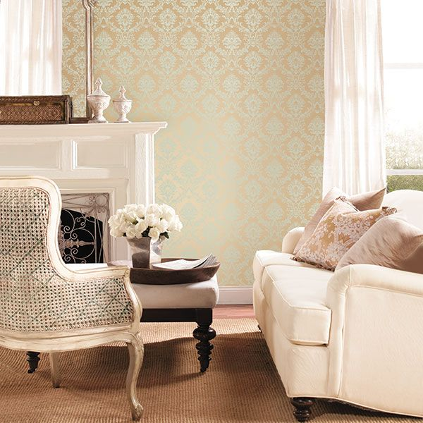 Beautiful metallic damask looks lovely in this traditionally dressed room. Classic Silks 3 Collection by Galerie - CH28242R