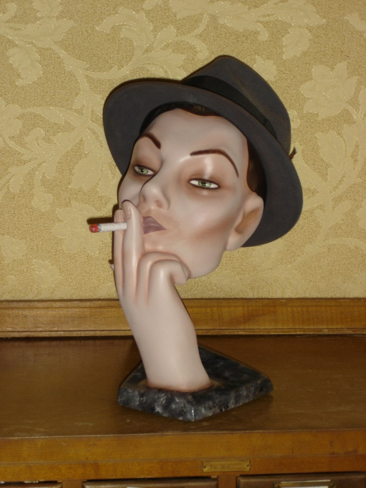 """"""" Classic """" Mad Men"""" Smoking Mannequin Head Hat Stand Display"""