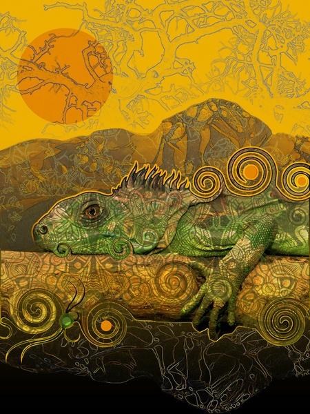 Just Chilling and Dreaming...(Lizard) Art Print by Waelad Akadan