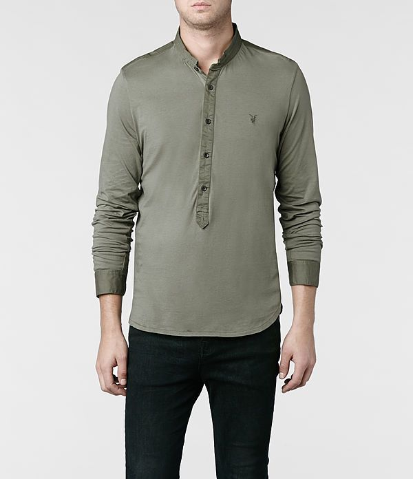 Mens Saints Long Sleeved Henley (Washed Khaki) | ALLSAINTS.com