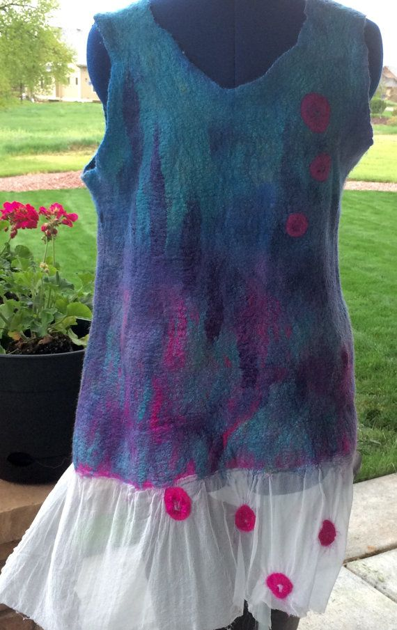 Felted summer topsilk topblue blouse silk and wool by FancyFancies