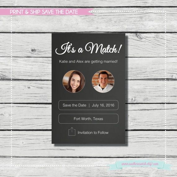 It's a Match! Save the Date. Tinder Save the Date {PRINT & SHIP} Wedding Save The Date - available as a postcard by SouthernSwish