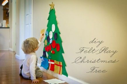 Felt Christmas Tree      While you may have to do the heavy lifting to get this tree created, your little one will love decorating this fe...