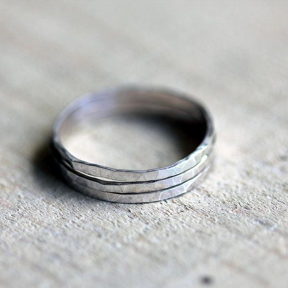 stacking rings hammered sterling silver stacking rings set
