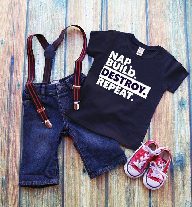 Nap Build Destroy Repeat Tee, Funny Toddler Tee, Funny Boys' Shirt, Toddler Boys' Tee, Baby Shower Gift, Gift For Boys