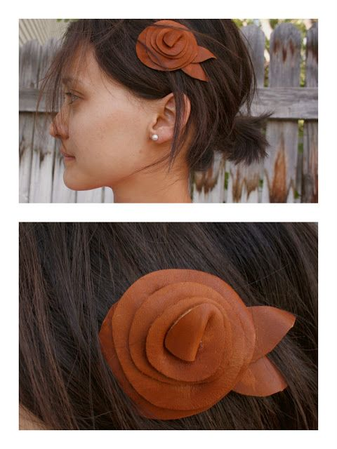 diy - three different leather hair accessories made from scraps and made in minutes from delia creates: leather bow
