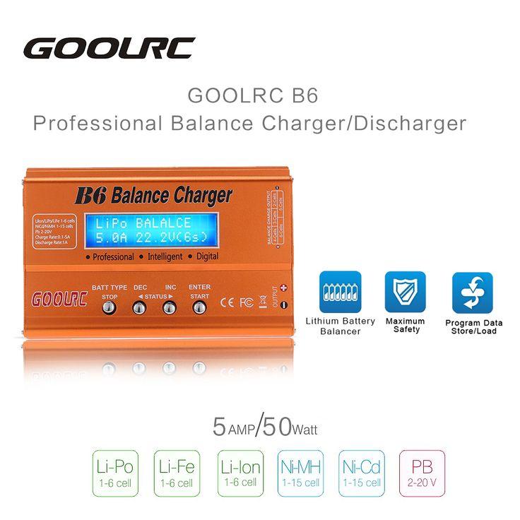 オリジナルgoolrc b6ミニ多機能50ワットバッテリーバランス充電器/放電器リポlilonライフニッカドニッケル水素pb rcバッテリー部分