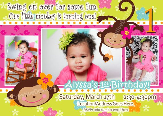 Monkey Love  Birthday Photo Invite  1 year by JRCreativeDesigns, $17.99