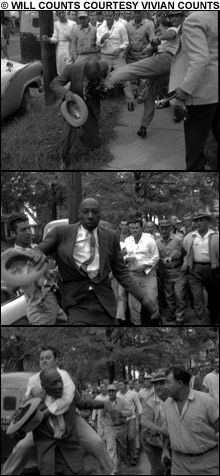 PICTURE OF DIGNITY      |      Black Journalists covering the CIVIL-RIGHTS MOVEMENT could not expect police protection.  Here: Tri-State Defender Editor, L. Alex Wilson, is attacked by a Little Rock mob: he's kicked, he rises, and then he is attacked from behind.
