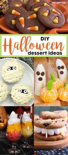 DIY Halloween dessert ideas- fun, easy, and neat Halloween desserts! Mummy cupcakes, witch finger cookies, candy corn cookies, ghost meringues, and more!