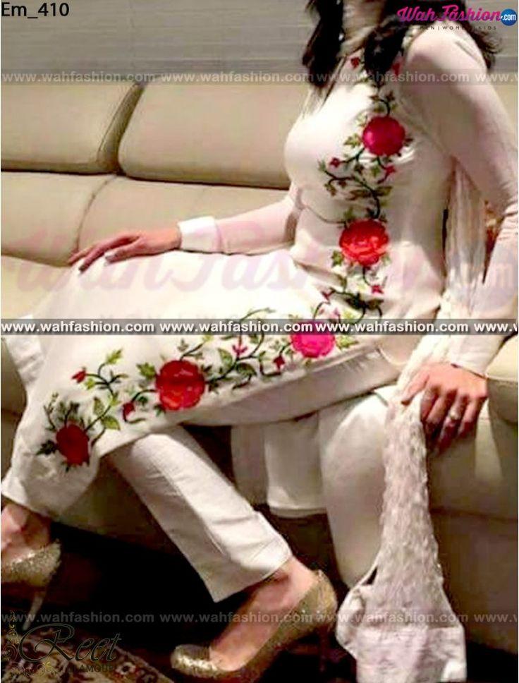 Marvellous White Embroidered Punjabi Suit