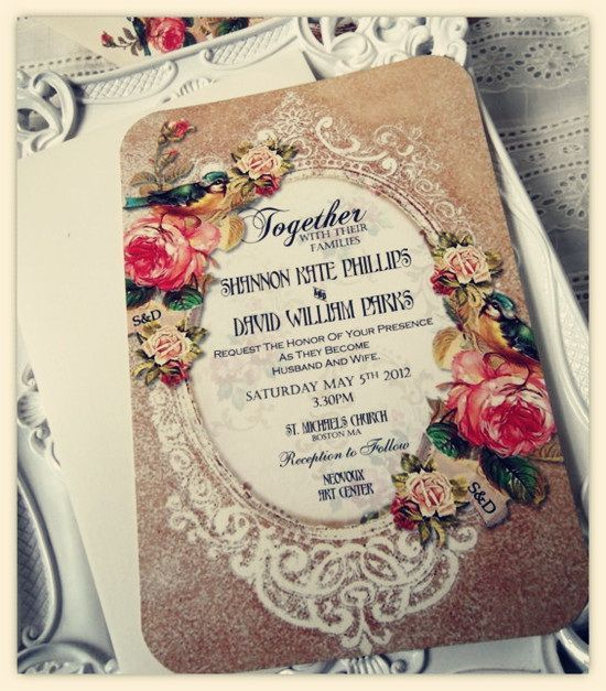 Wedding inspiration with bird prints #French #vintage #antique #paper #invitation #shabby chic | www.scenarioideal.com | Source: Tulle & Chantilly