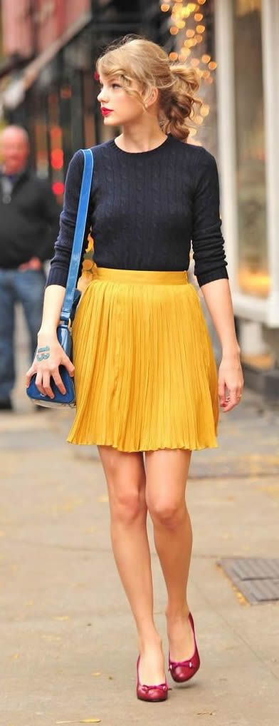 Taylor Swift Mustard skirt with Chic Top