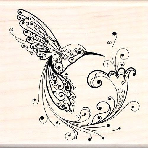 Black abstract ornate hummingbird. Style: Abstract. Color: Black. Tags: Cool, Elegant