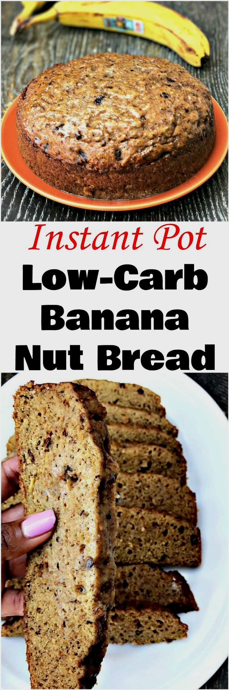 Instant Pot Low-Carb Banana Nut Bread is an easy pressure cooker recipe for homemade, keto friendly, healthy dessert with fruit.