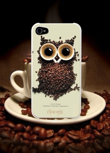 Iphone4s Iphone4 Owls Coffee Cup Hard Case White Black Cofee