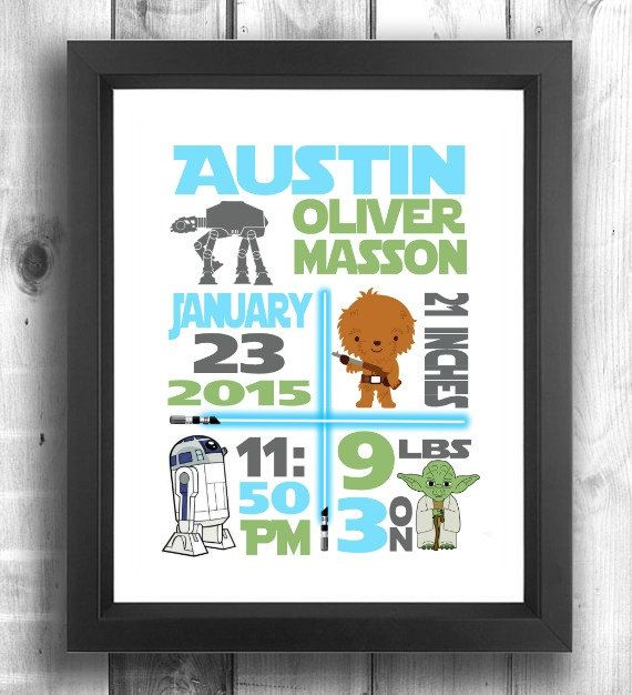 Check out this item in my Etsy shop https://www.etsy.com/ca/listing/237003007/star-wars-print-star-wars-nursery-birth