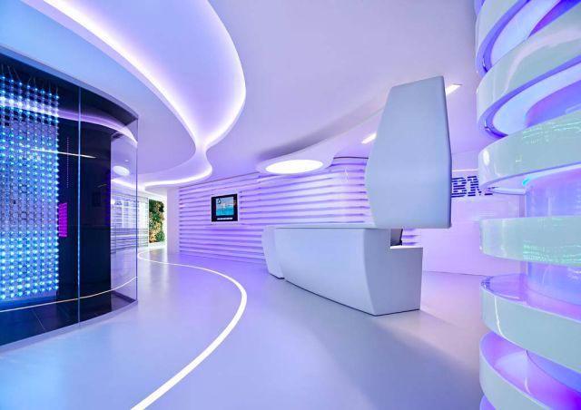 Futuristic reception area at the office of IBM.