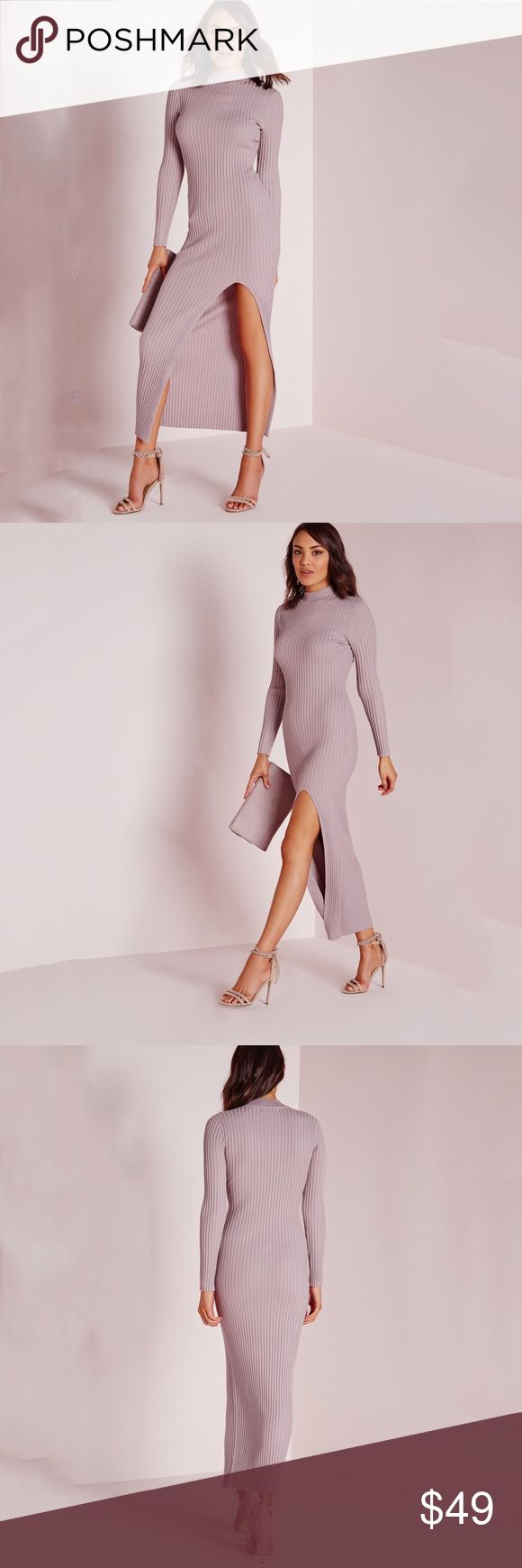 "Misguided Dusty Rose Slit Mock Neck Sweater Dress be a total dream in this lust-worthy knitted maxi dress with a ribbed finish for a super flattering fit. in a feminine mauve and high neck style and sexy split up the front, this is definitely a must have for every girl and we think it'll go great with some comfy heeled sandals and shoulder bag for a super chic finish.  • approx length 56""  • 100% viscose • size 2 (US) • new with tags and never worn misguided Dresses Midi"