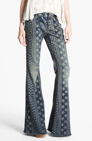 Bali Print Flare Leg Jeans - Lyst