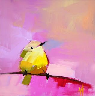 #AngelaMoulton | Warbler No.28. #painting #bird #pink