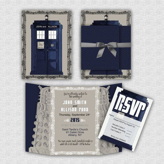Custom Doctor Who Wedding Invitation SUITE // by BBannabelle