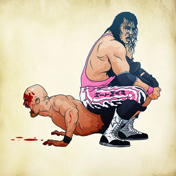 "Art depiction of the famous match in wrestling history that changed both wrestlers careers and is claimed to be one of the staples to start up the ""Attitude Era"" in the WWE. Bret ""The Hitman"" Hart vs ""Stone Cold"" Steve Austin at Wrestlemania 13 at The Rosemont Horizon in Rosemont, Illinois"