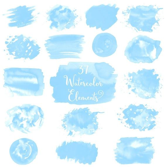 Watercolor Splash Clipart Blue Watercolor Splashes Blue