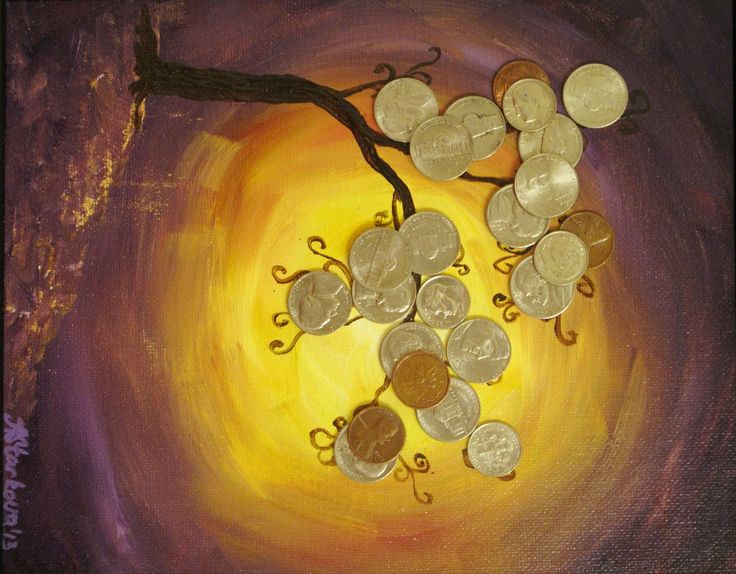 Feng+Shui+Money+Tree+5x7+mixed+media+by+StarkovaGallery+on+Etsy,+$25.00