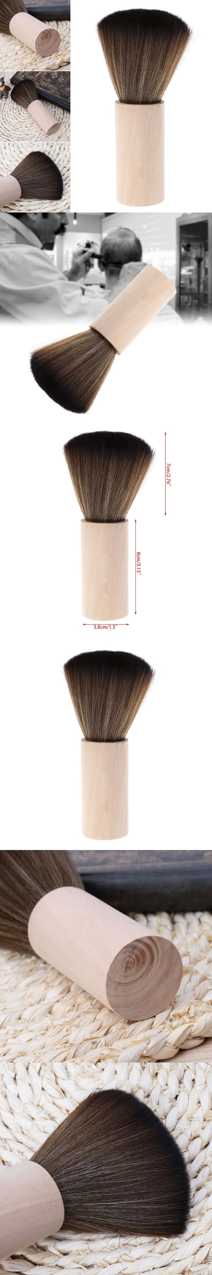 Cleaning Hairbrush Hairdressing Neck Face Duster Salon Stylist Barber Hair Cutting Tool Hair Sweep Soft Brush Wood Handle
