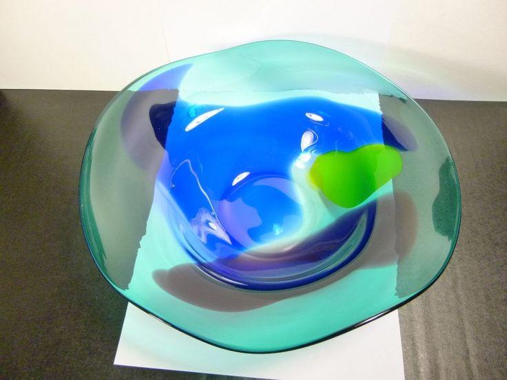 VINTAGE RARE MURANO M-C-M GREEN,BLUE,YELLOW,PURPLE SOMMERSO LARGE GLASS BOWL  #Murano
