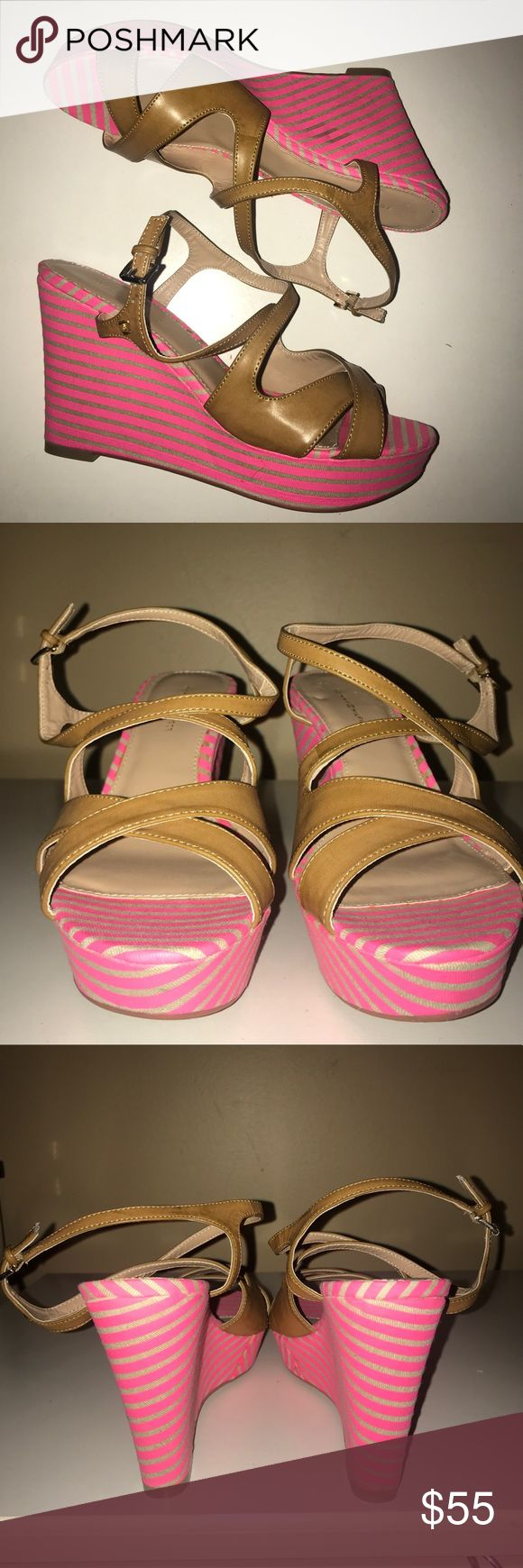 "🆕NWOT🧡TOMMY HILFIGER🧡Pink & Tan Wedges/Sandals 🆕NWOT🧡TOMMY HILFIGER🧡Pink & Tan Wedges/Sandals. Leather crisscrossed straps with adjustable buckle at ankle. Size- 7.5. Heel height- 4"". Original cost $85 Tommy Hilfiger Shoes Wedges"