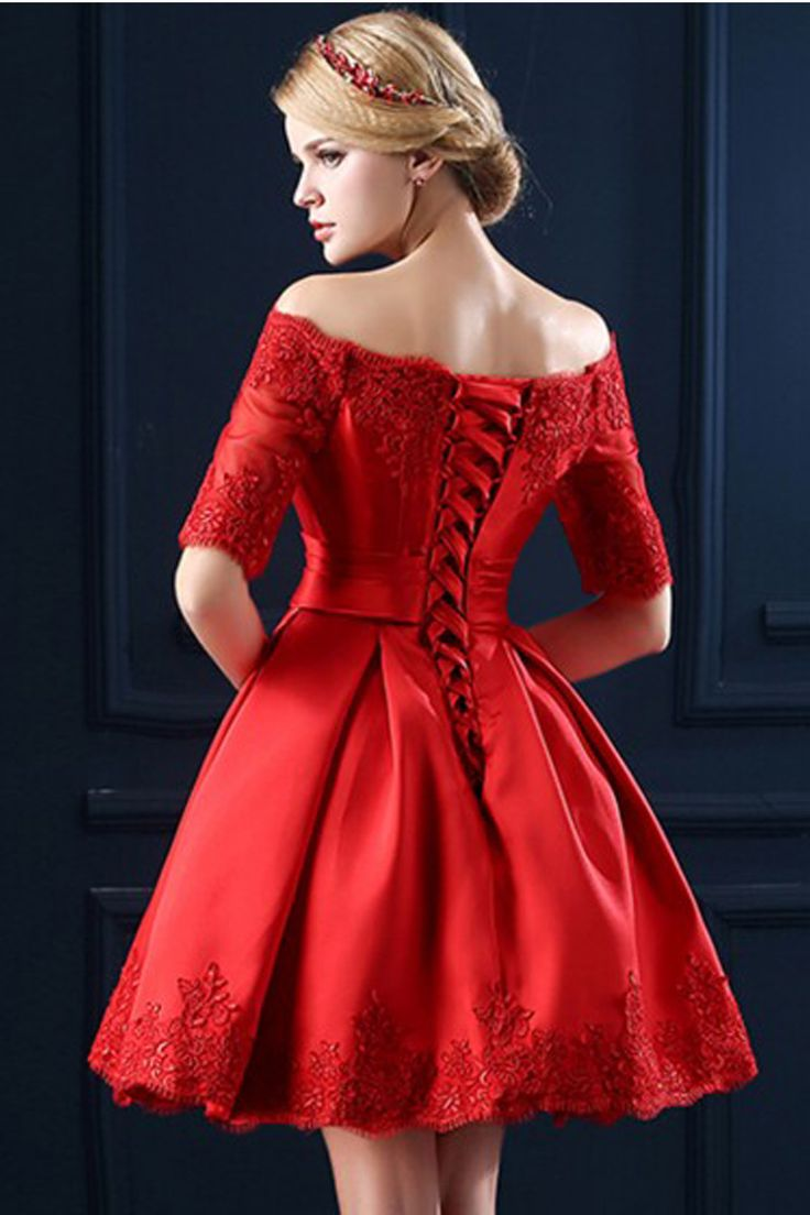 Boat Neckline Red Lace Short Prom Dresses,Homecoming Dresses - Thumbnail 1