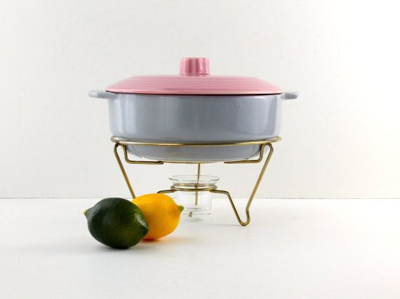 Mid Century Modern Chafing Dish, Serving Dish with Warmer, Art Deco Style, Fiesta Ware, California Pottery, Gray, Blue, Pink, Ceramic