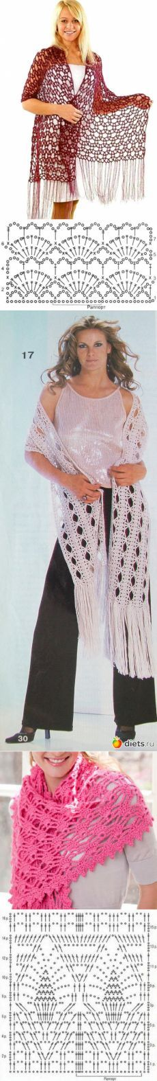 Будь модной! вязание крючком палантин. Модная одежда, #haken, gratis teltekening, haakschema, stola, omslagdoek, shawl, #crochet, free chart, diagram, shawl, wrap