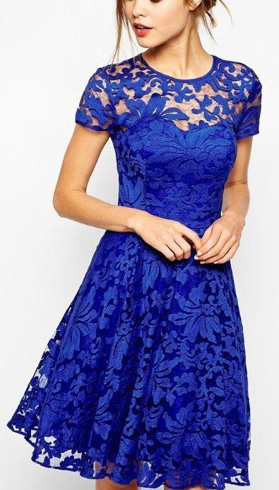 :: More Lovely Pinns @oliviabradley :: , Cobalt blue dress blue -  lace