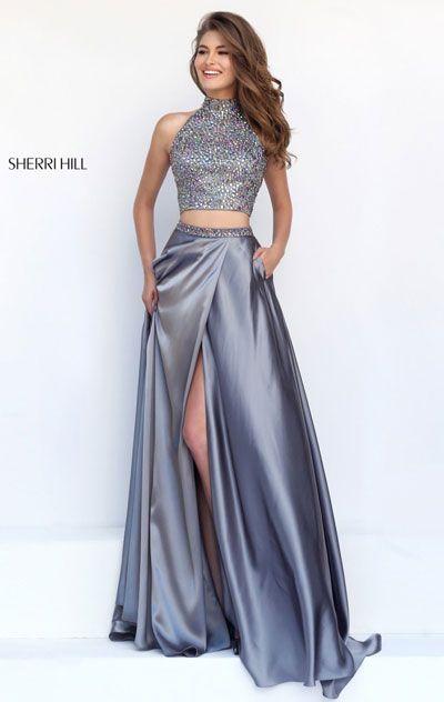 Keyhole Gunmetal Beaded Sherri Hill 11330 Two-Piece Long Slit Prom Dresses 2016