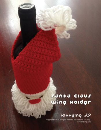 Crochet Pattern Santa Claus Wine Holder - This crochet pattern is designed for standard wine bottle size. Easily modified for wider or taller bottle