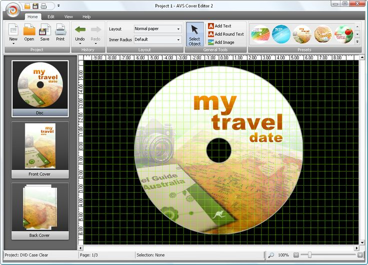 AVS Cover Editor - Design your own disc cover. Use ready templates or import images from your computer. Create labels for optical discs and box covers!