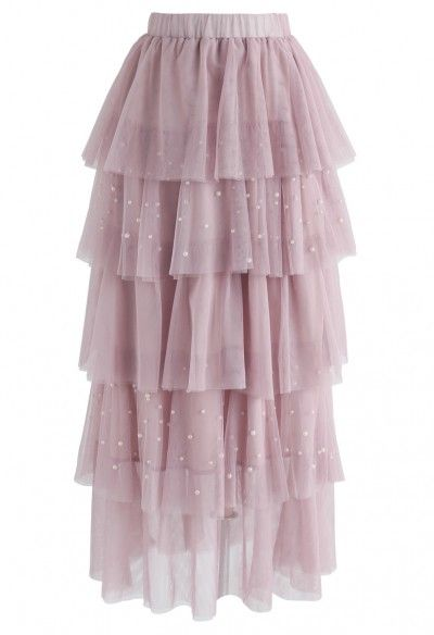 0d9e384f5 Surrounded By Pearls Tiered Mesh Skirt in Pink | Modest dresses in ...