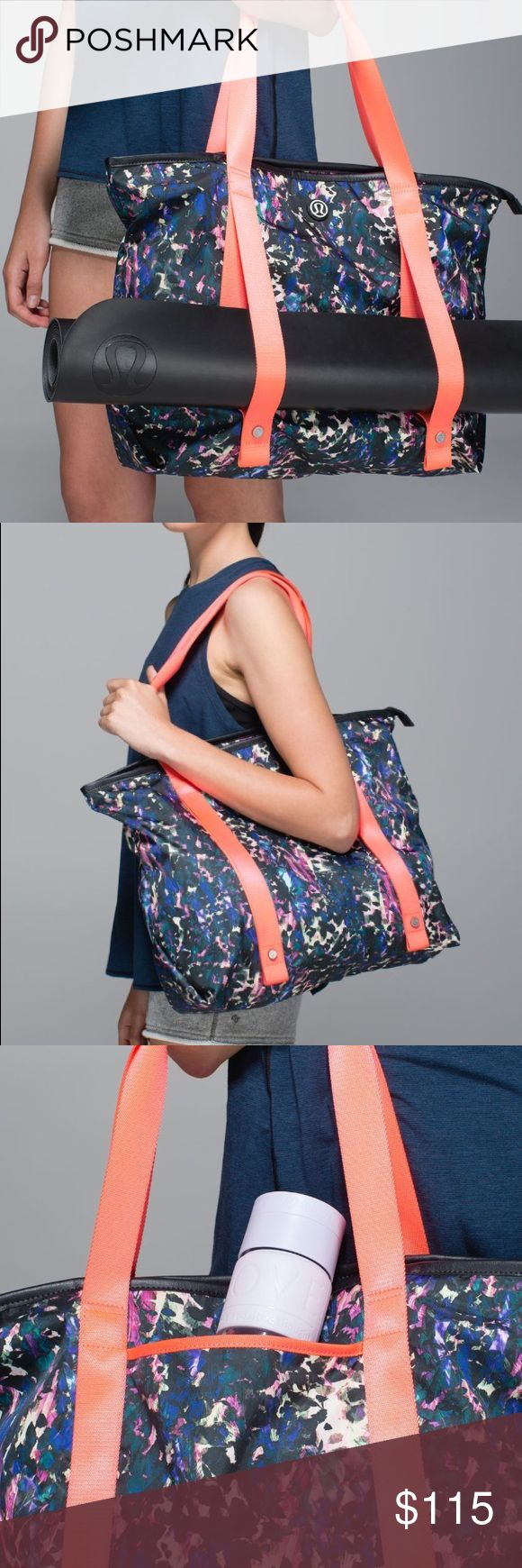 """•{Lululemon} Summer Lovin' Tote• Lululemon Summer Lovin' Tote. In Floral Backdrop Black Multi. A great bag in Great Used Condition! """"We use this lightweight tote to take us from the beach to Sun Salutations all summer long. Made of durable, water-resistant fabric with plenty of pockets, it stands up to all of our adventures in the sand and the studio."""" Unsnap the front straps to hold your yoga mat or towel. Phone & water bottle pocket. 15.75"""" x 15"""" x 6"""". Only flaw to mention is the clear…"""