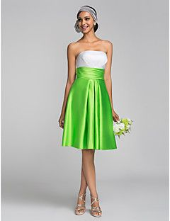 Satijn A-Lijn/Prinses Strapless Bruidsmeisjesjurk -met Limoen Groen Knie-Lengte Grote Maten