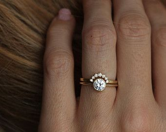 Yellow gold Diamond Ring With Curved Diamond Band, Simple Wedding Ring Set, Soli…