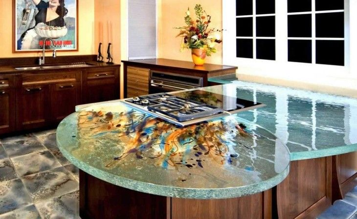 Shiny Glass Kitchen Design Countertops With Accent Colors - pictures, photos, images