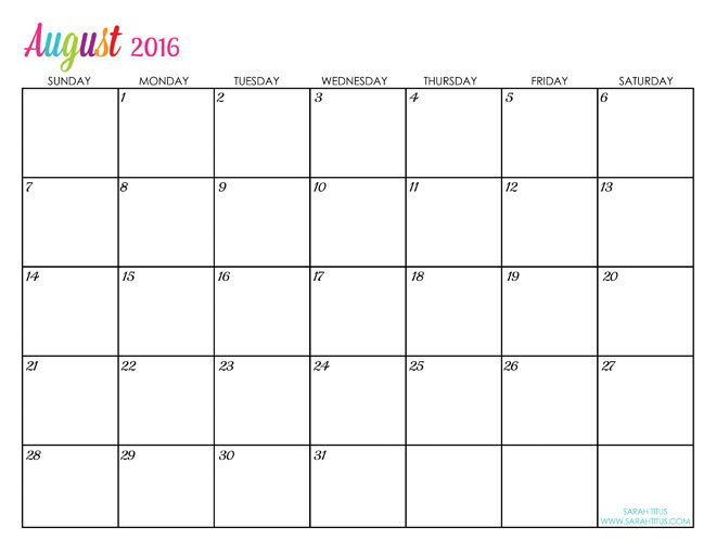 free editable monthly calendar