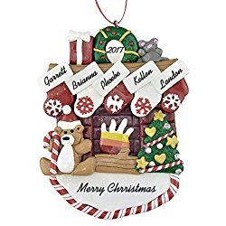 Personalized Christmas Ornaments Family Of 5 Fireplace Mantle With